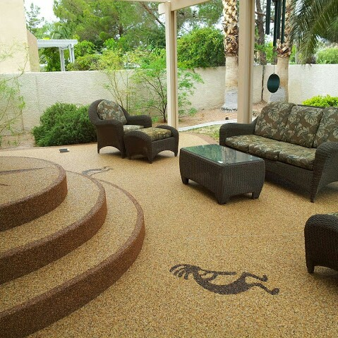 A Photograph Of A Concrete Patio With A Pebble Stone Overlay. This Deck Was  Originally Coated With Kool Deck. Visit Www.PebbleStoneCoatings.com For Info