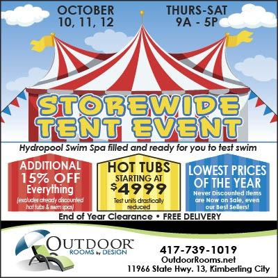 2019 Fall Tent Sale:  Oct 10-12, 9am-5pm Best savings of the year!