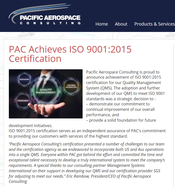 A recent customer's ISO 9001: 2015 Certification announcement. Pacific Aerospace Consulting with operations in the US and Aus.