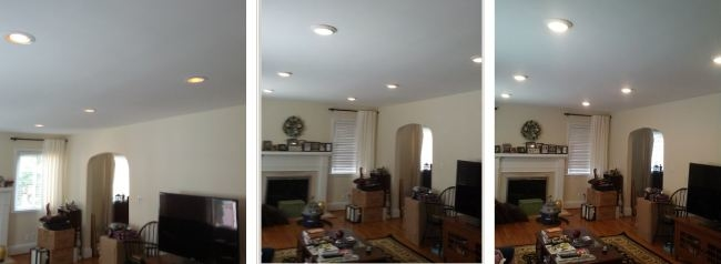 Before Image on far left of 65W energy-hog incandescent lighting. After Images in center (dimmed) and far right (bright) of the 14.5W LED Lighting fixtures that replaced the incandescent fixtures to effectively reduce the cost of lighting by 77%.