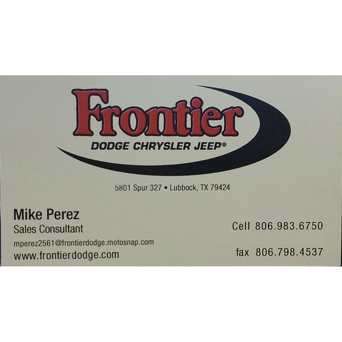 MIKE PEREZ at Frontier DODGE - Lubbock, TX 79424 - (806)983-6750 | ShowMeLocal.com