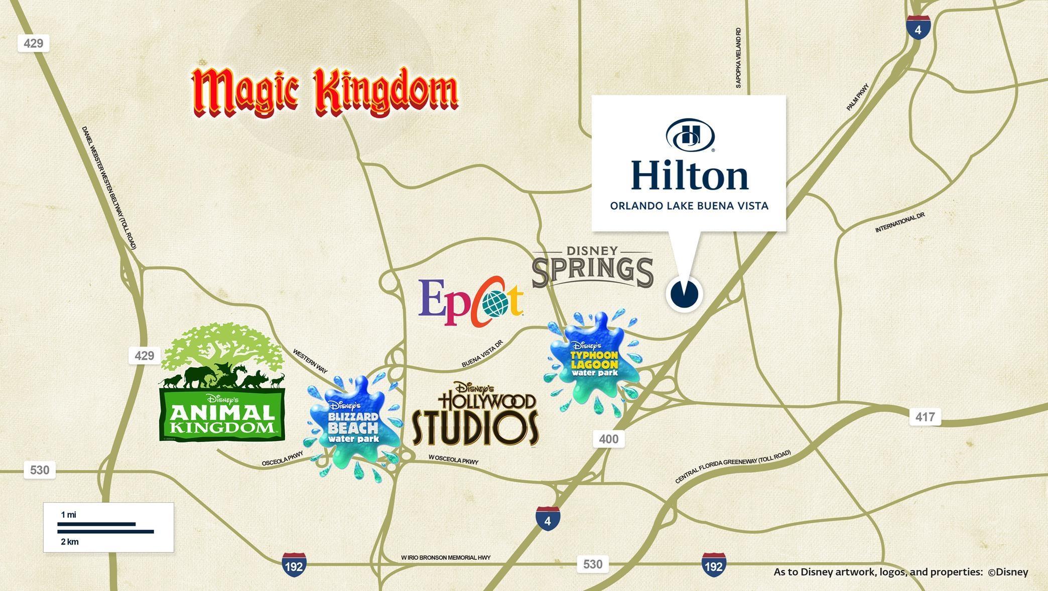 Hilton Orlando Lake Buena Vista Disney Springs Area Hotel - Hilton properties map
