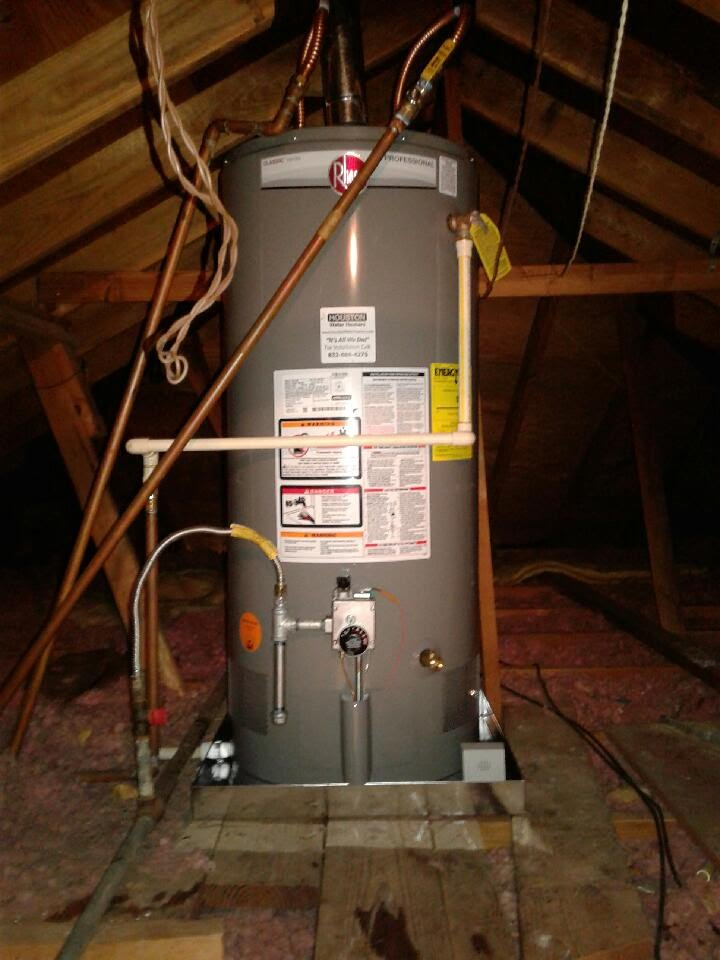 can you install a water heater in the attic