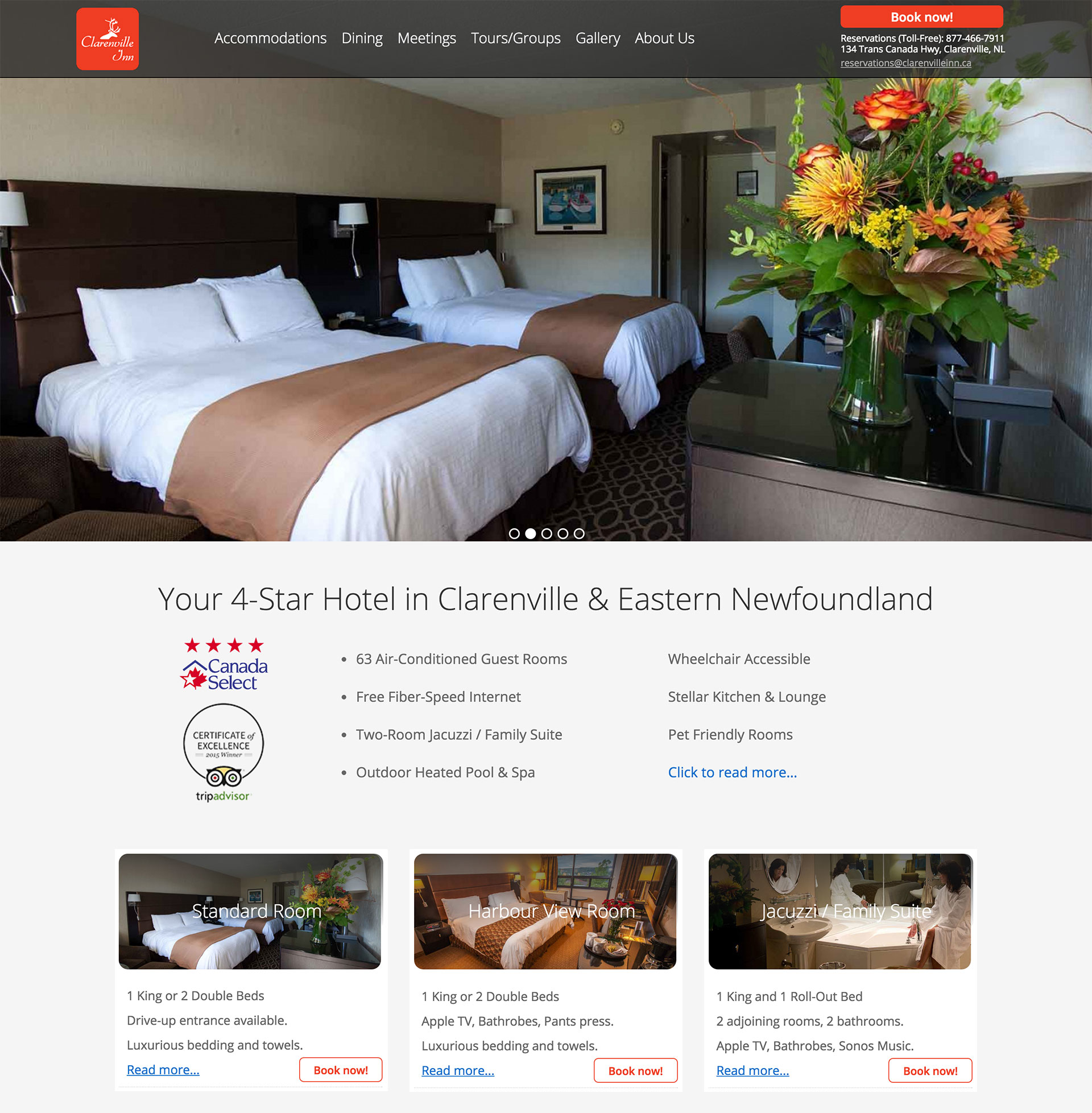 Lorne Pike & Associates in St. John's: The fully remodeled Clarenville Inn wanted a mobile-ready website that allowed online booking and showed their impressive range of local and hotel photos and videos. We delivered, and their guests love the view!