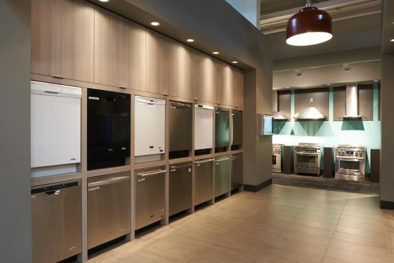 Trail Appliances in Richmond: Dishwasher section in the showroom.