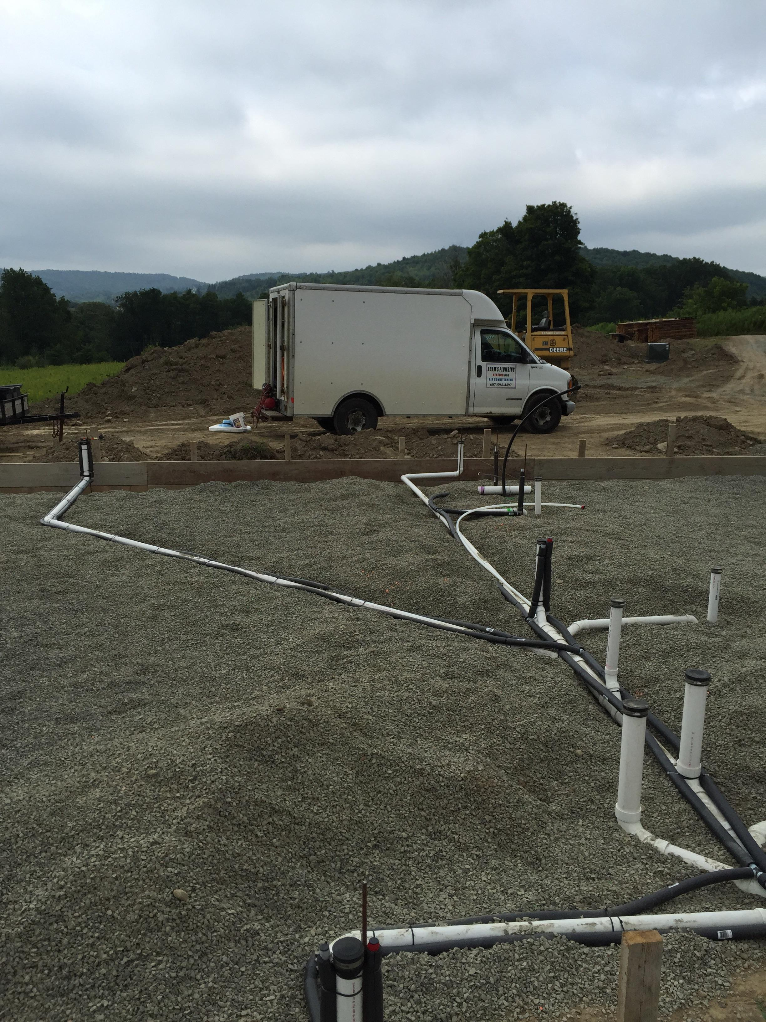 PVC underground plumbing roughin for new home in Newfield NY