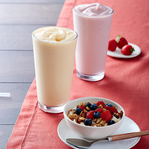 Start your morning with our new Greek Yogurt with Mixed Berries or a Fruit Smoothie.