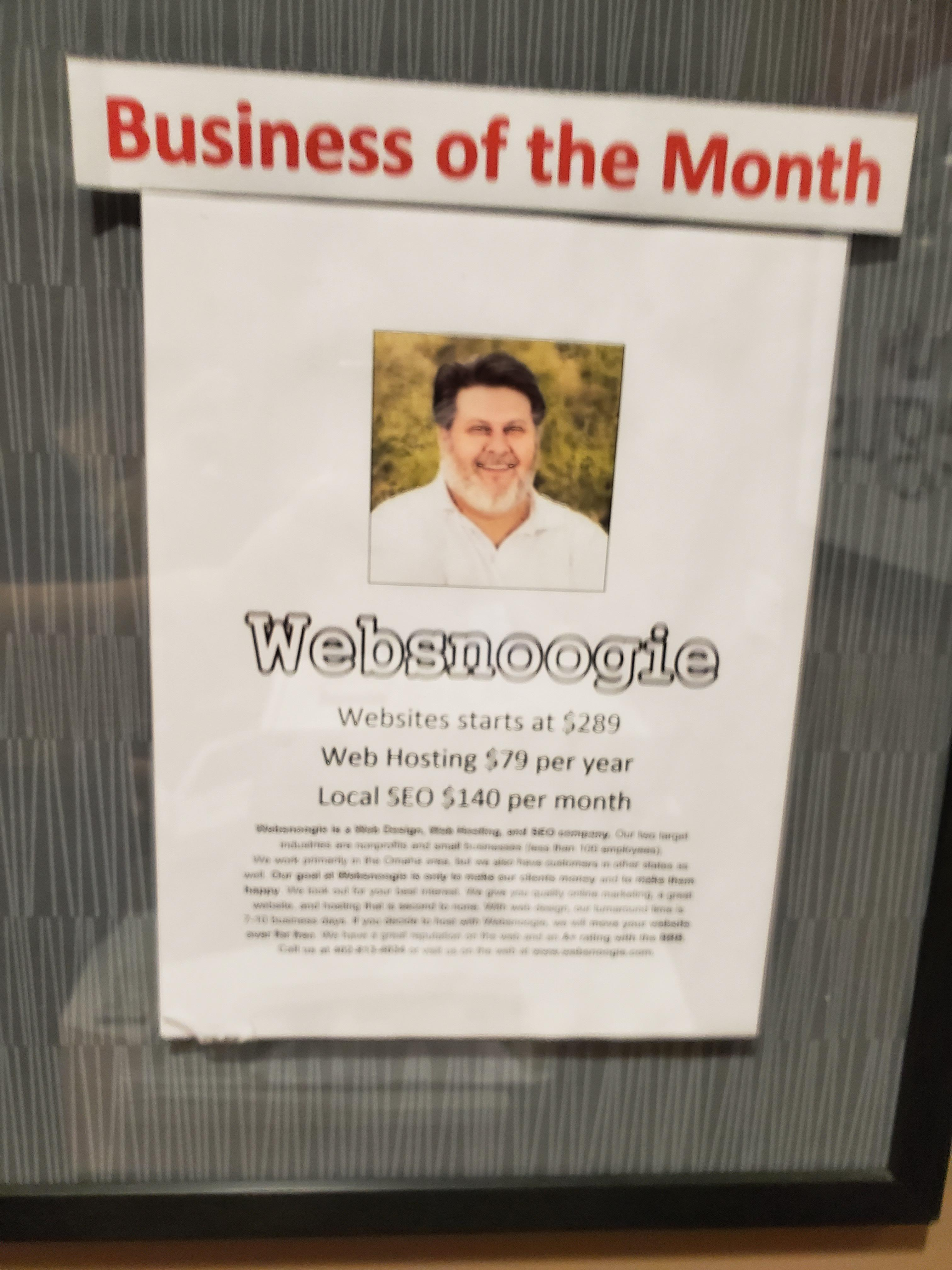 Websnoogie is business of the month at Linden Place!