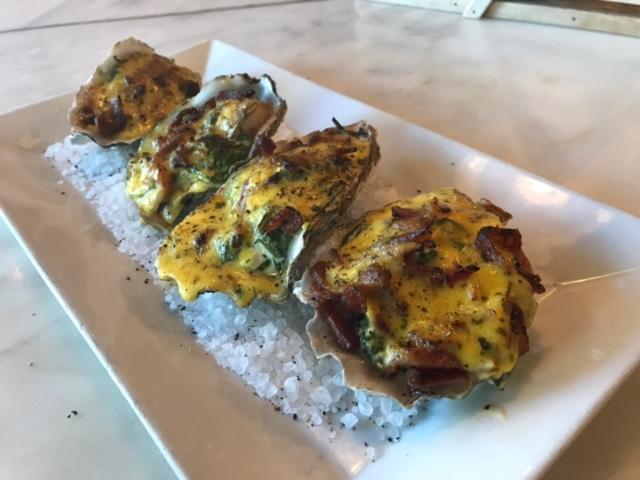 BBQ Oysters on the Half Shell under Melted Extra Sharp Cheddar & Bacon Blanket