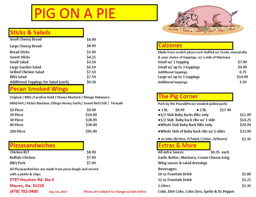 Pig On A Pie Houston Road STE K Macon GA Pizza MapQuest - Mapquest macon ga