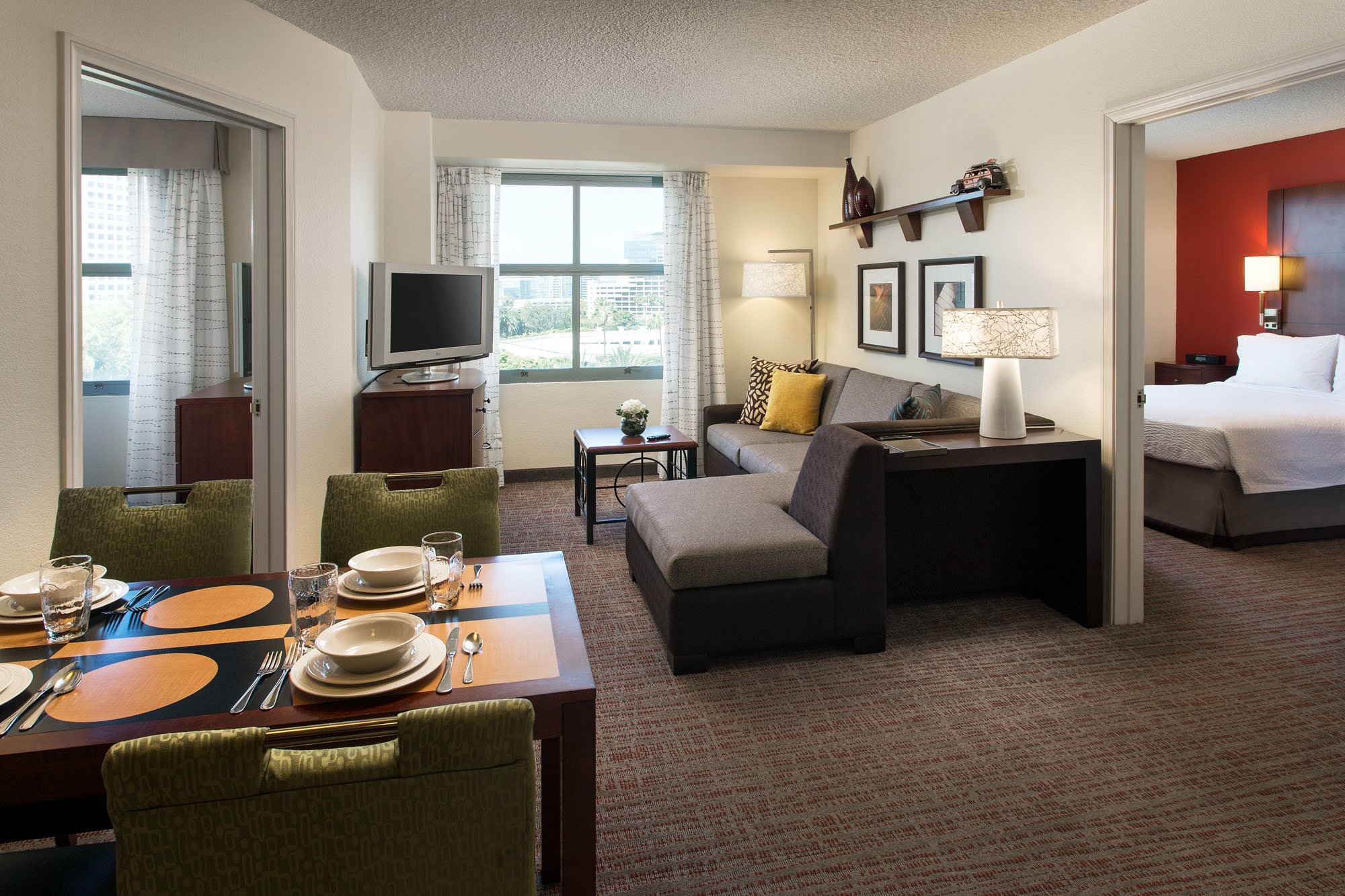 Two-Bedroom Suite - The Two-Bedroom Suites in our hotel are perfect for families and groups traveling to Orange County, California. Complimentary Internet access and a full kitchen with oven are among the amenities.