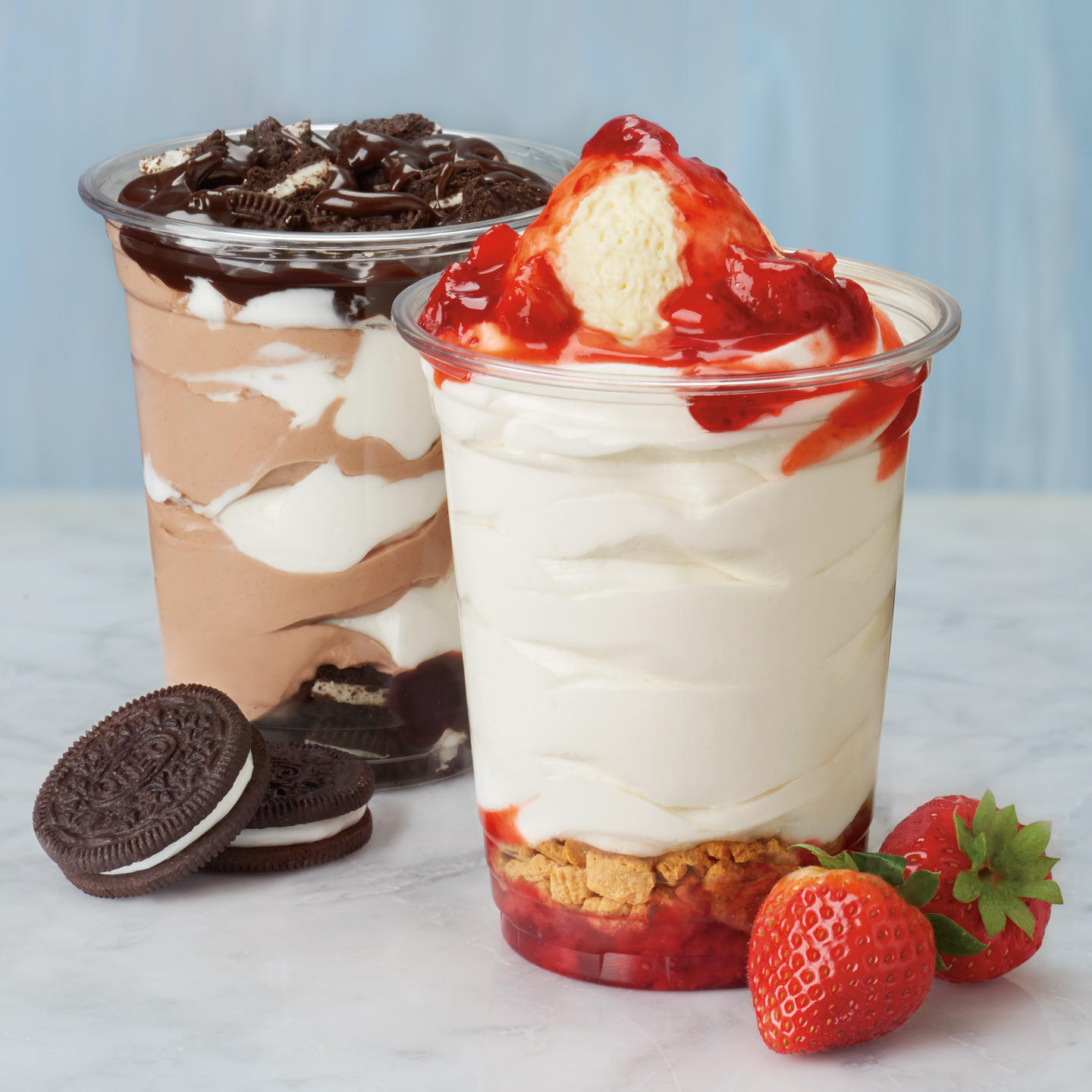 Flavor On Top Of Flavor. Layers and layers of rich flavor make our Stackers a treat you can keep digging in to. Choose from Strawberry Cheesecake Stacker or our Oreo Fudge Stacker.