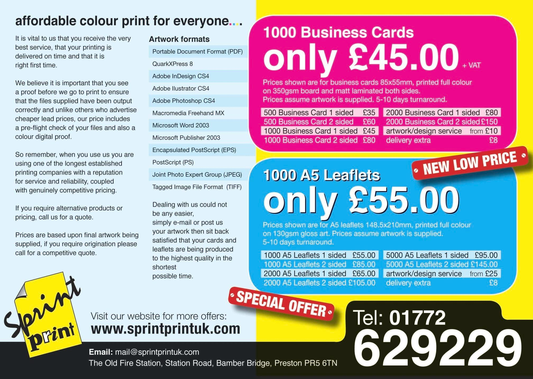 Sprintprint Design & Print - Printers General in Preston PR5 6TN ...