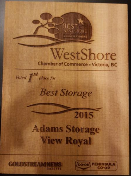 Adams Storage Langford in Victoria: 2015 Best Storage Award from WestShore Chamber of Commerce
