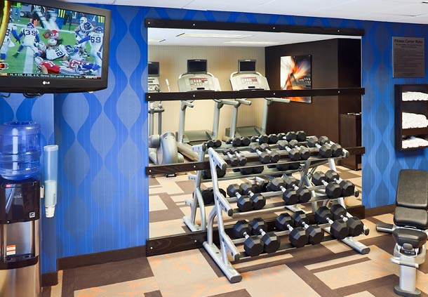 Stay on your exercise regimen in our Fitness Center. While exercising on our cardio machines enjoy your own private viewing screen and watch your favorite show.