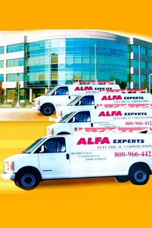 Alfa Experts arrives at your house in one of our clean service vans ready to provide the best electrical services in town.