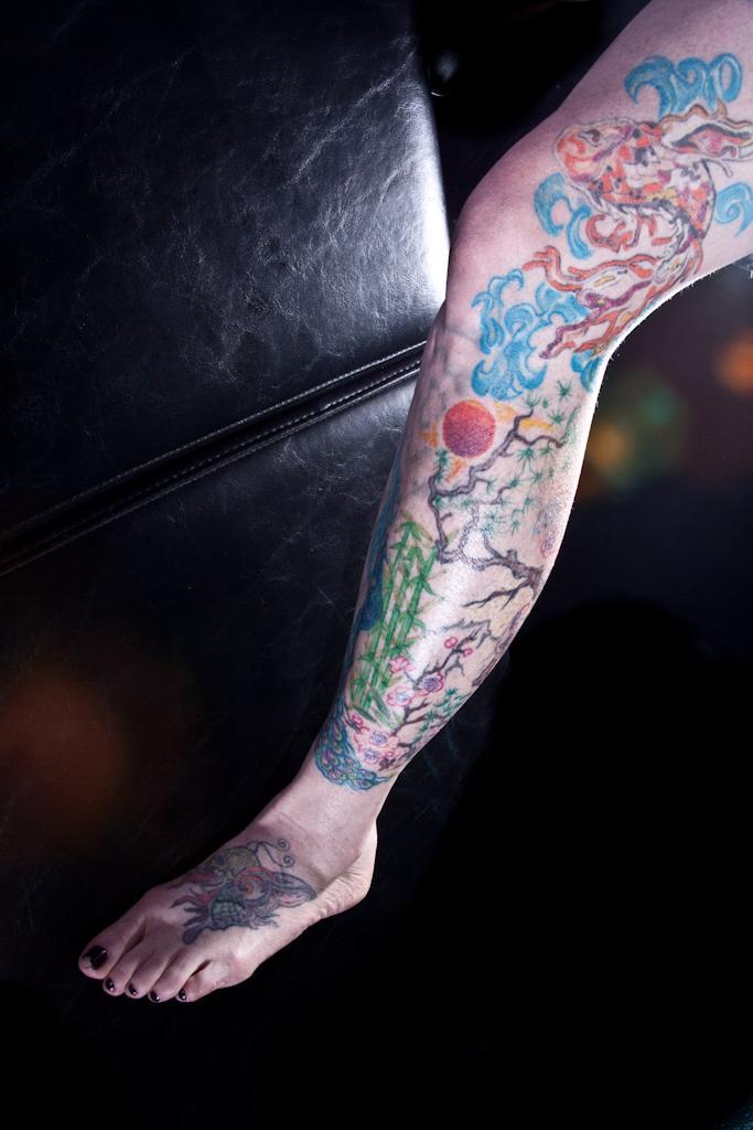 Our piercer's beautiful leg, by Dan Allen,