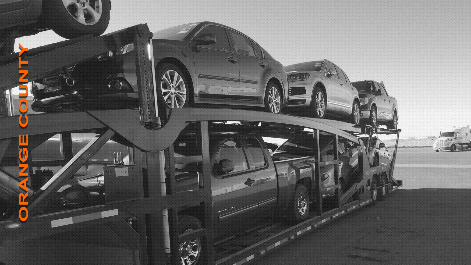 Fully loaded auto transporter.