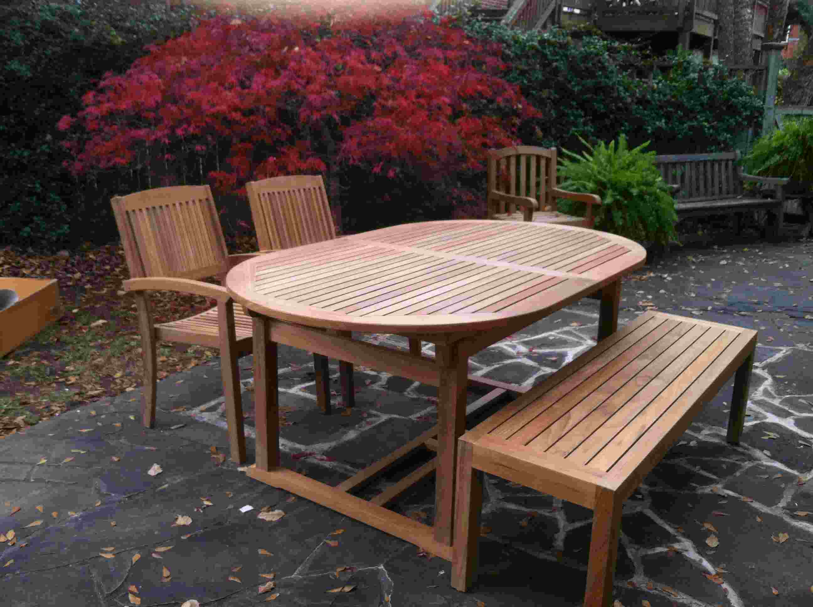 Teak Table, Chairs And Backless Bench By Atlanta Teak Furniture