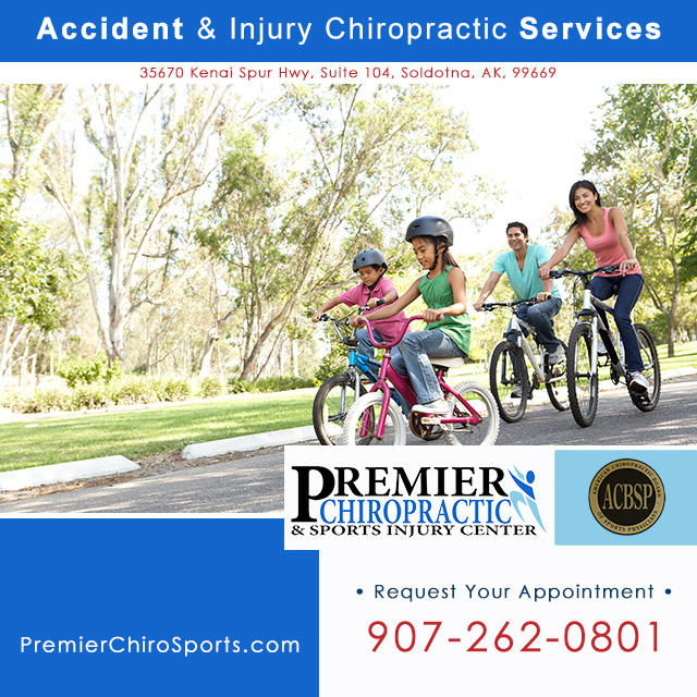 Accident & injury chiropractic Soldotna on the Kenai Peninsula. Call Premier Chiropractic & Sports Injury Center: 907-262-0801.