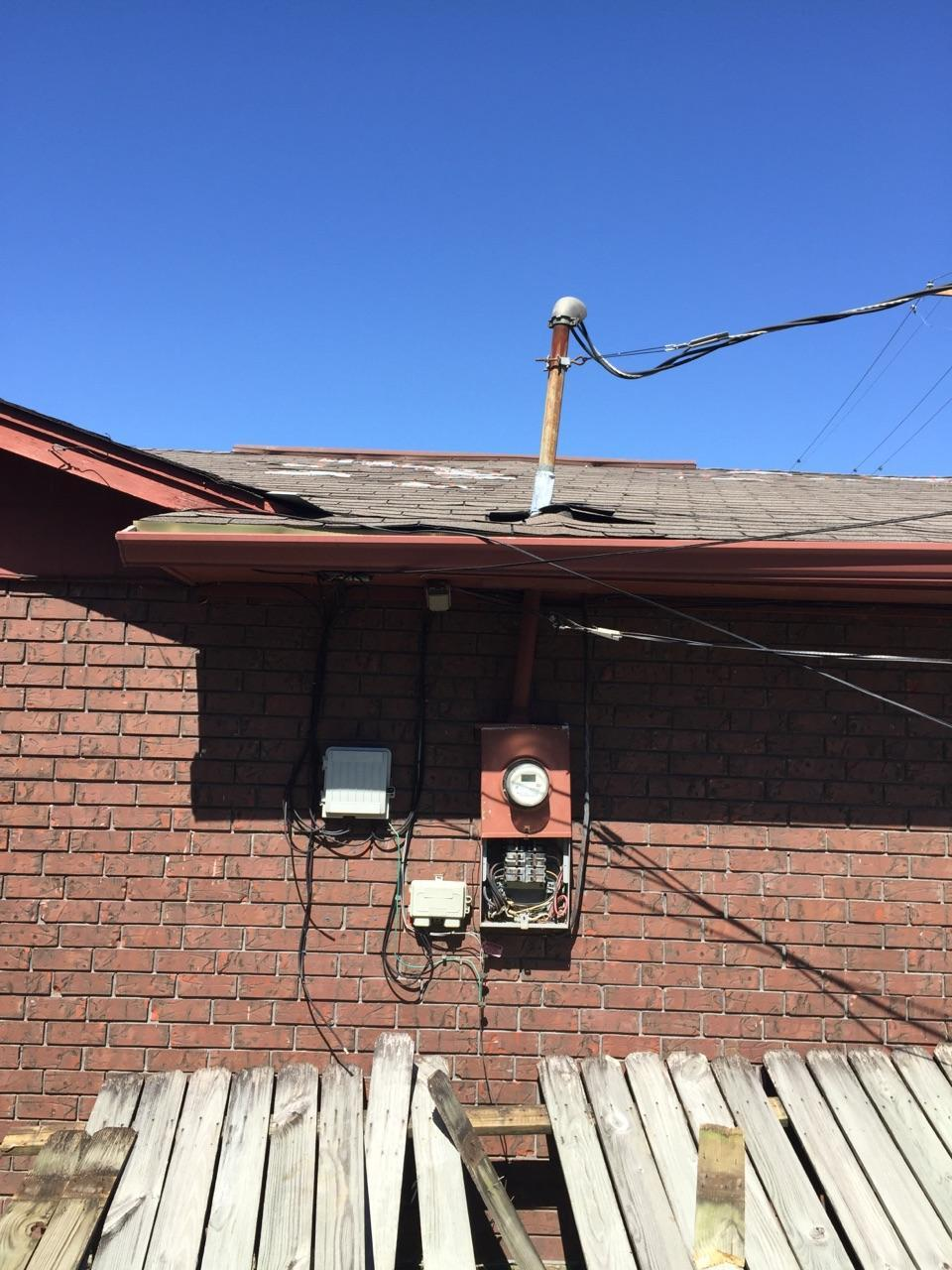 Residential emergency storm damaged equipment.