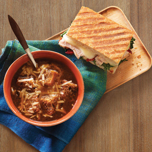 Try the New Roasted Turkey & Caramelized Kale Panini & Returning Favorite: The Bistro French Onion Soup.