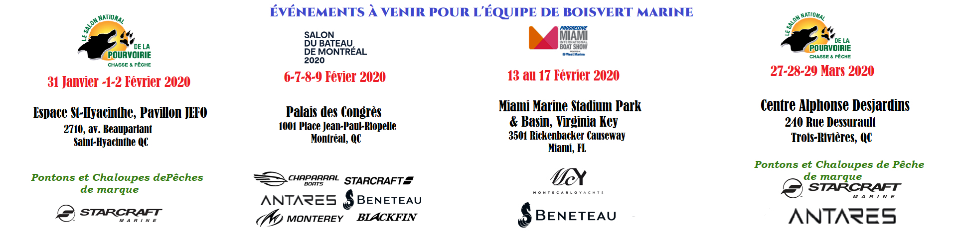 Boisvert Marine à Sorel-Tracy: Scheduled Events for Boisvert Marine