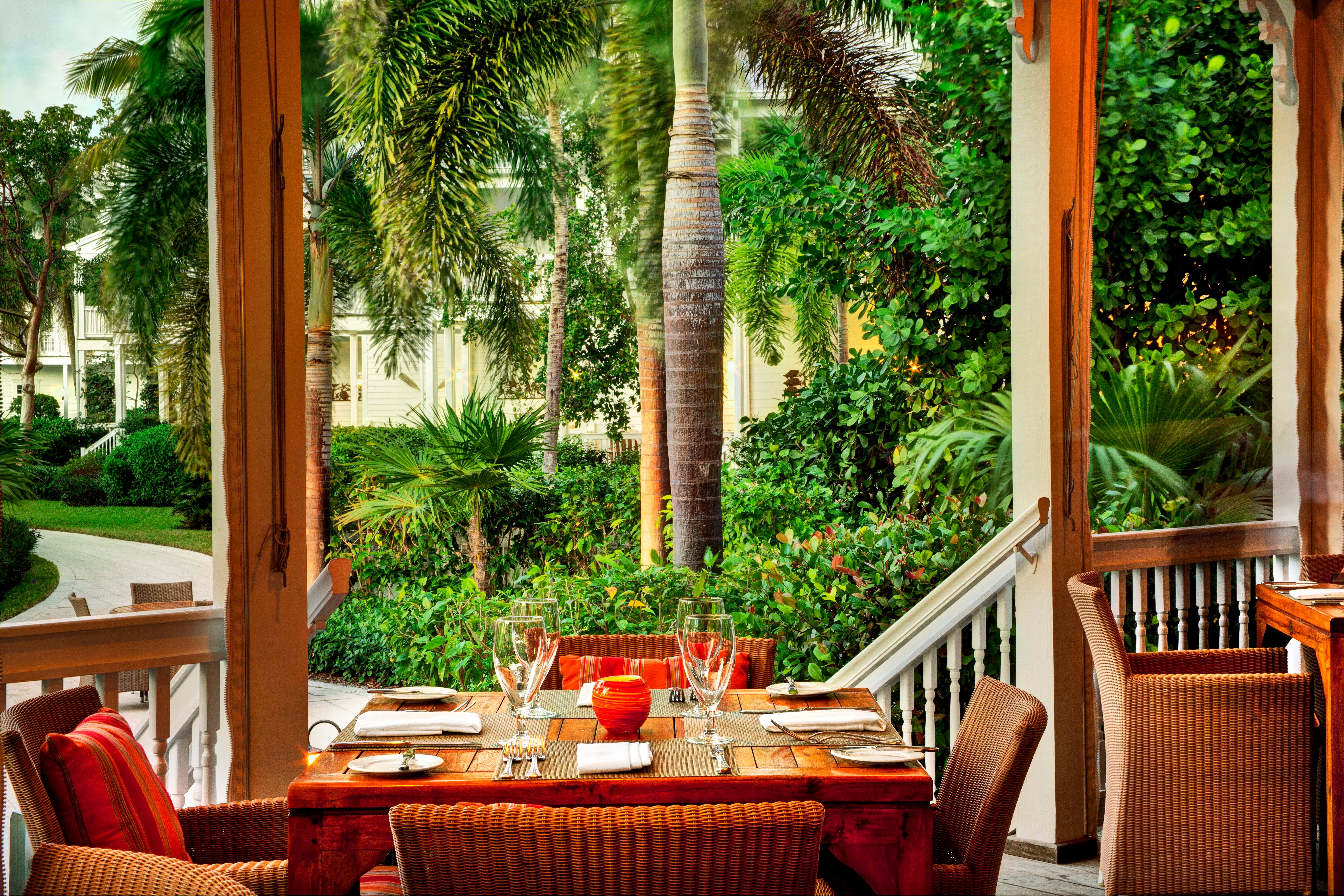 Dining at Butterfly Cafe, the outdoor restaurant at Tranquility Bay Resort in the Florida Keys.