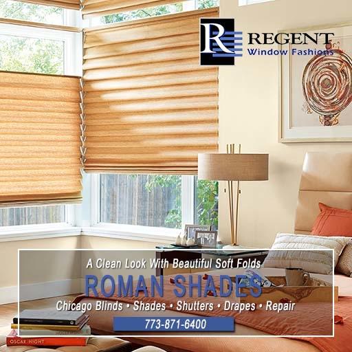 Roman window shades Chicago by Regent Window Fashions.