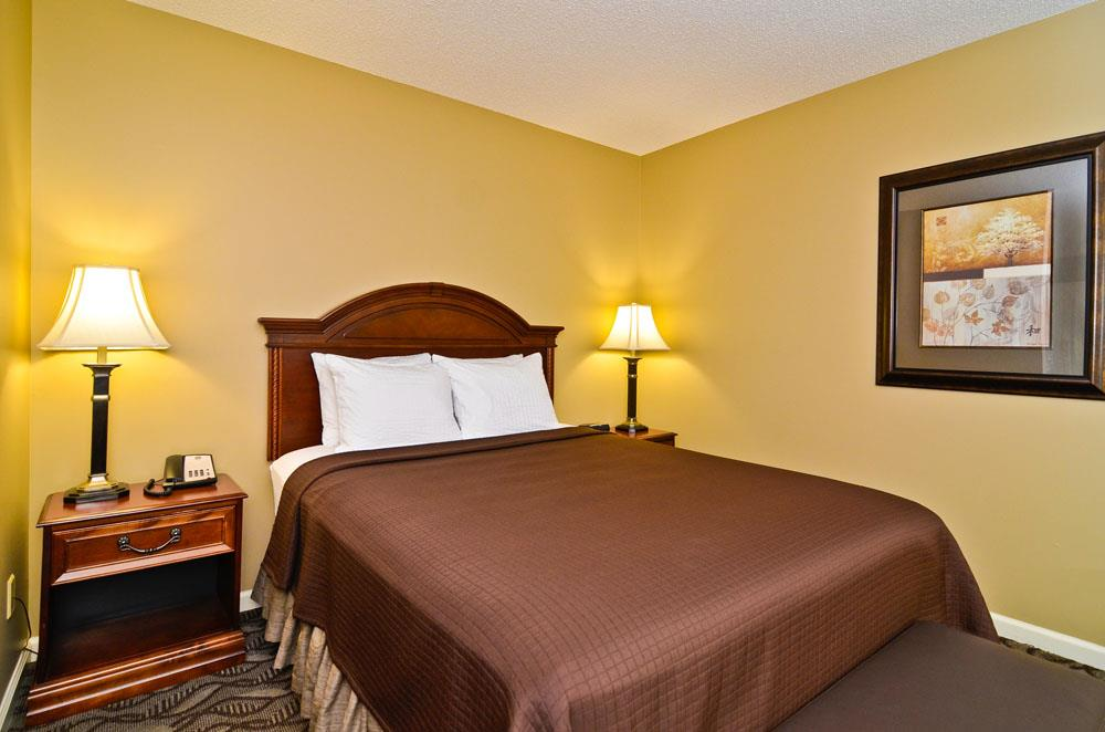 Spacious queen suite with flat screen TV.