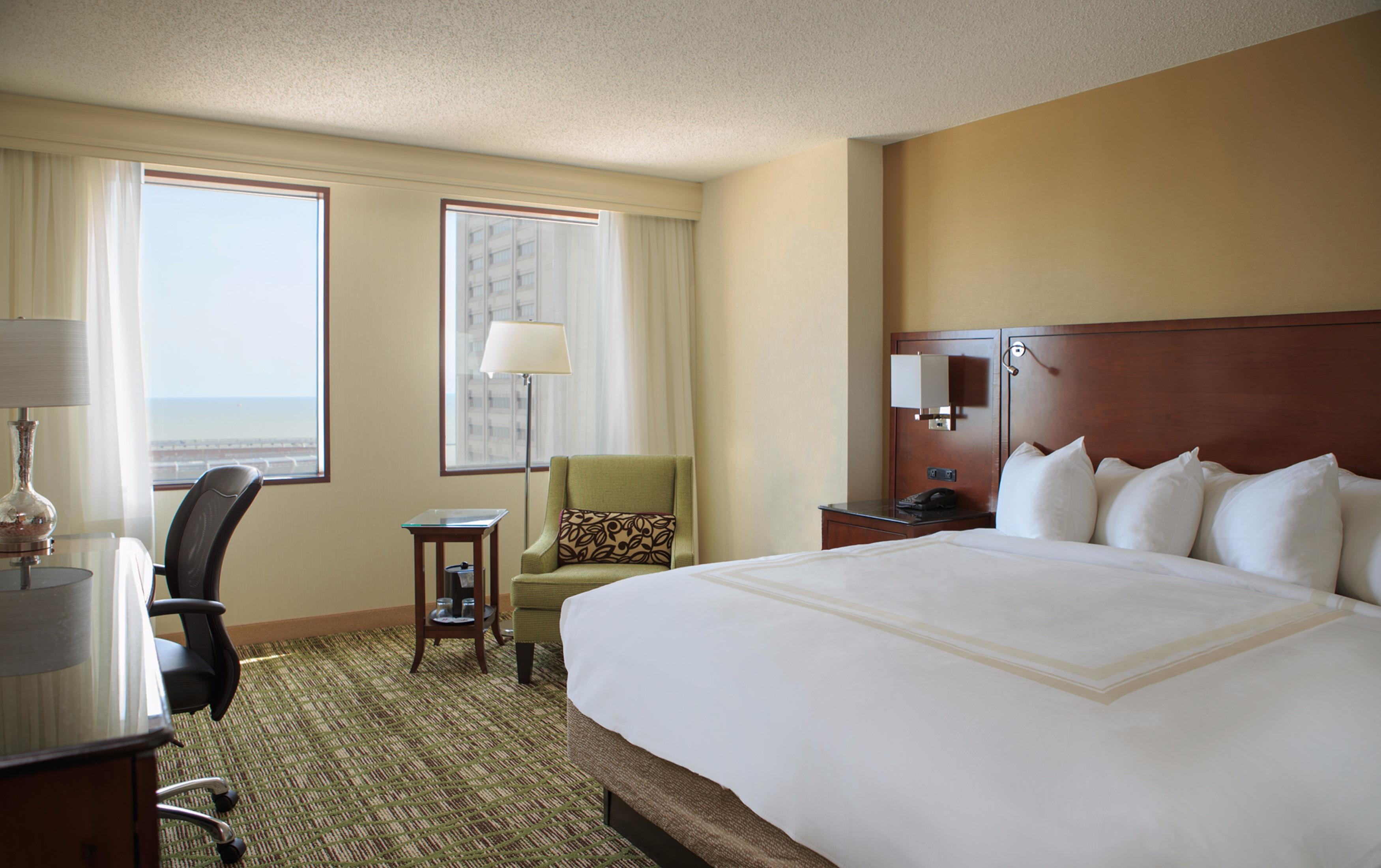 Whether you're here to work or play, effortlessly unwind in our renovated rooms with flat-screen TVs and sleek new furniture.