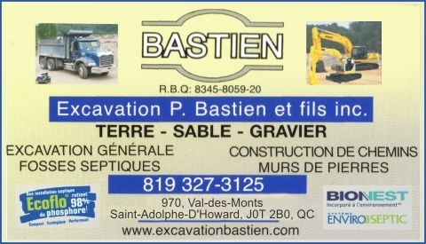 Excavation P Bastien & Fils Inc à Saint-Adolphe-d'Howard