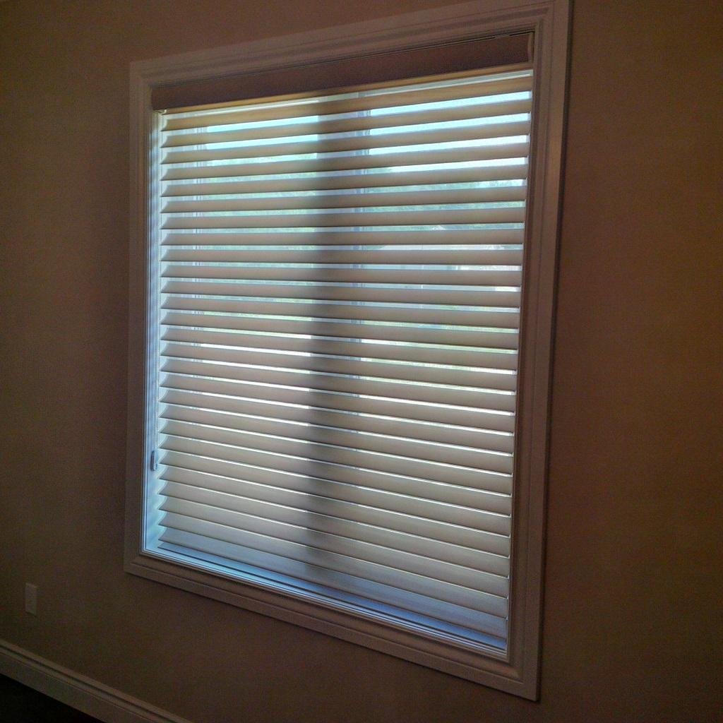 Budget Blinds à Waterloo: Horizontal window shadings are an incredibly popular window covering option. They are most often done in a shade of white, but are actually available in a beautiful array of colours to complement any interior.