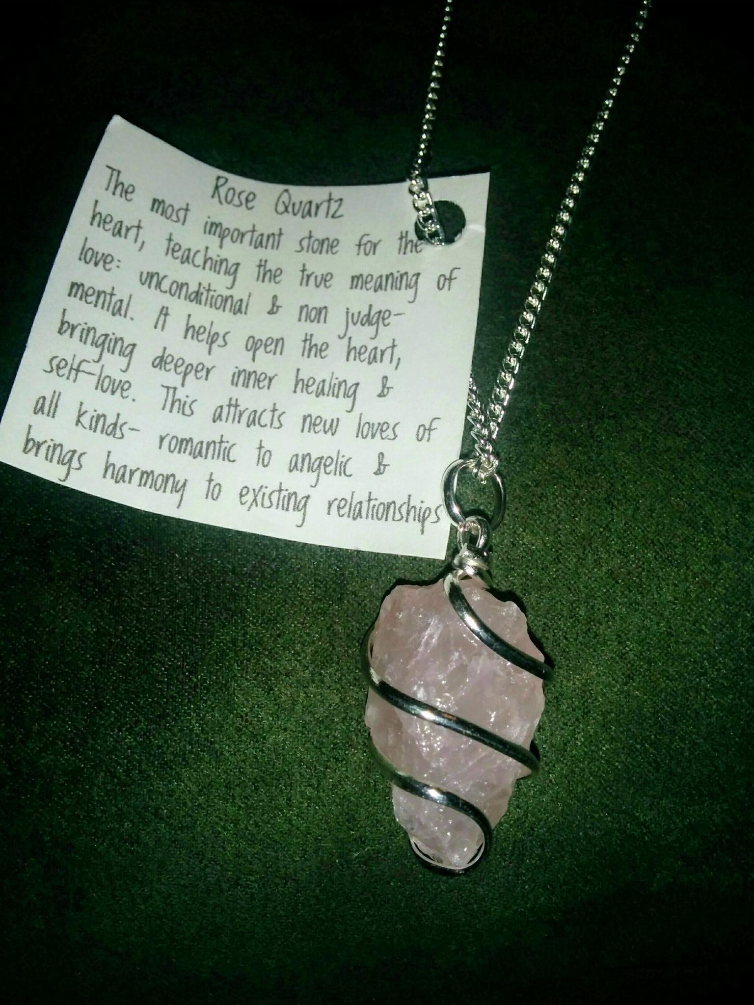Brassy Lassy Inc in St John's: Rose quartz (love stone) wire wrapped on sterling, $20