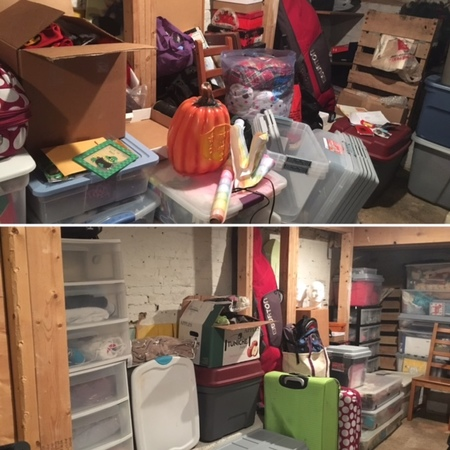 Basement organization, before (top) and after (bottom)