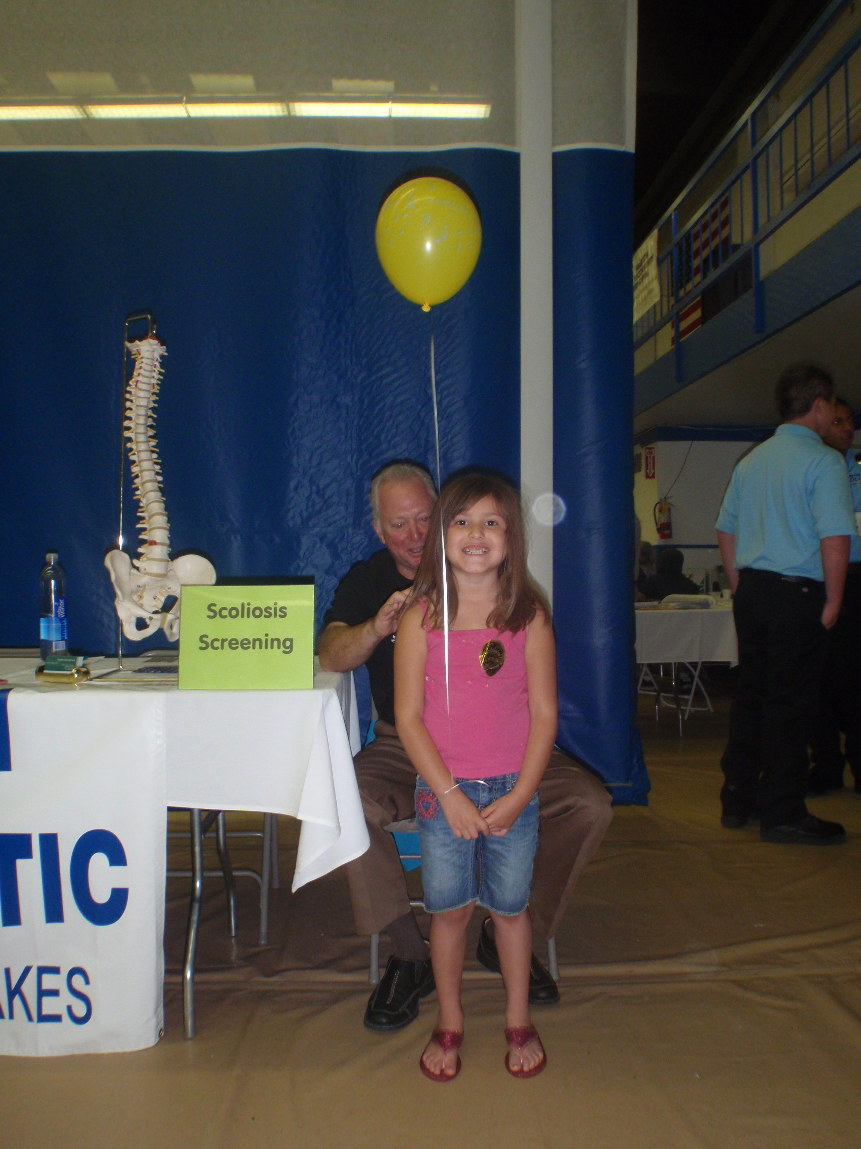 Scoliosis Screenings at the Barstow Community Children's Health Fair.  Improving the health and wellness of our community.