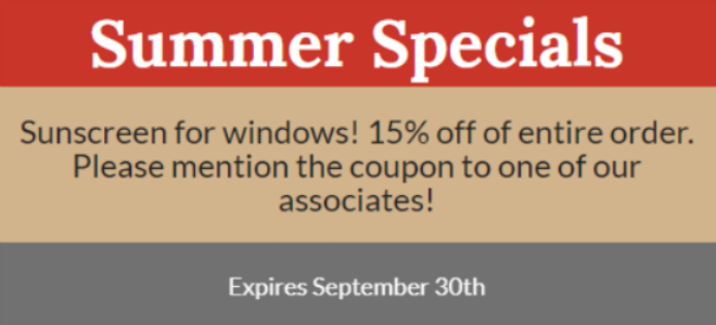 Summer Specials expire 9/30/2018