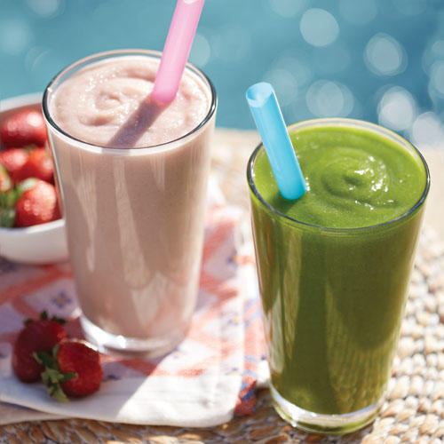 New Low-Fat Strawberry Banana Smoothie and Green Passion Power Smoothie