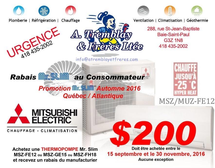 A. Tremblay et Frères ltée à Baie-St-Paul: Promotion Mitsubishi ! 200 $ de rabais !   (Jusqu'au 30 novembre 2016 seulement.)