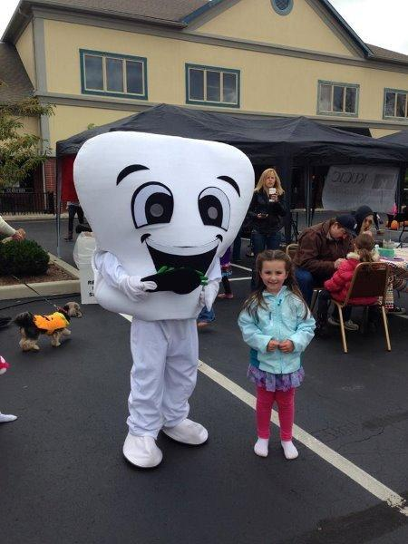 Our mascot Flossy during our Fall Festival.