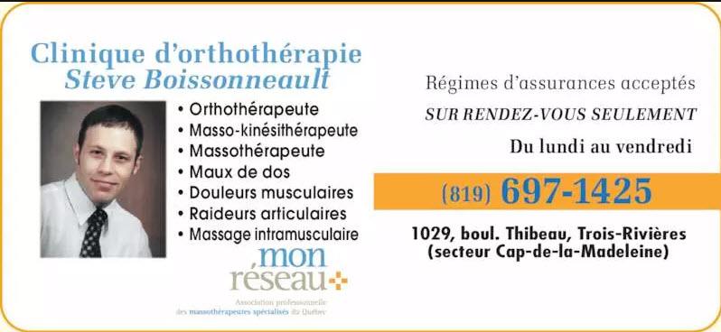 Boissonneault Steve Orthothérapeute à Trois-Rivières