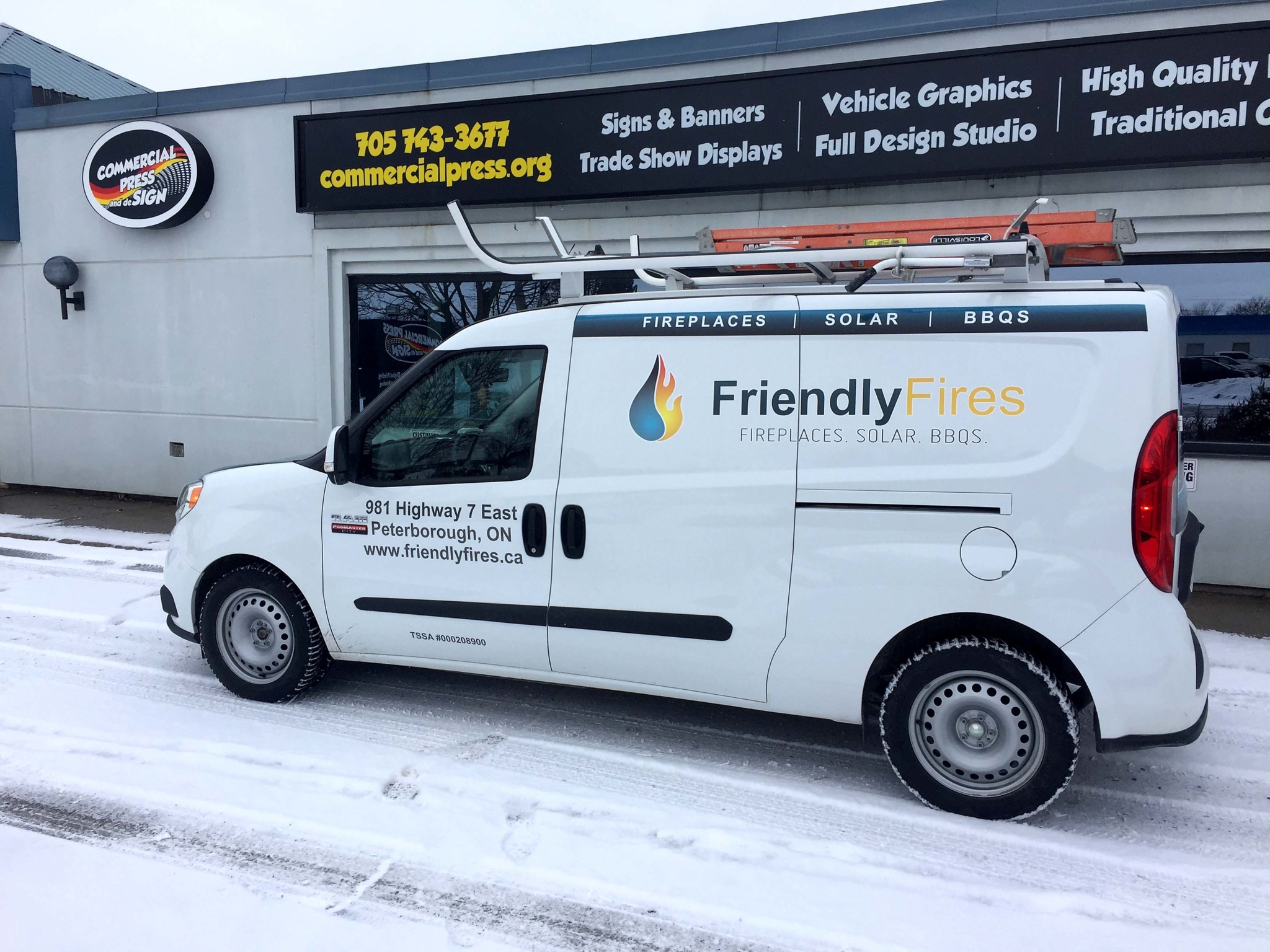 Commercial Press & Design in Peterborough: Graphics for a Dodge ProMaster Van. Produced and installed by Commercial Press and deSign.