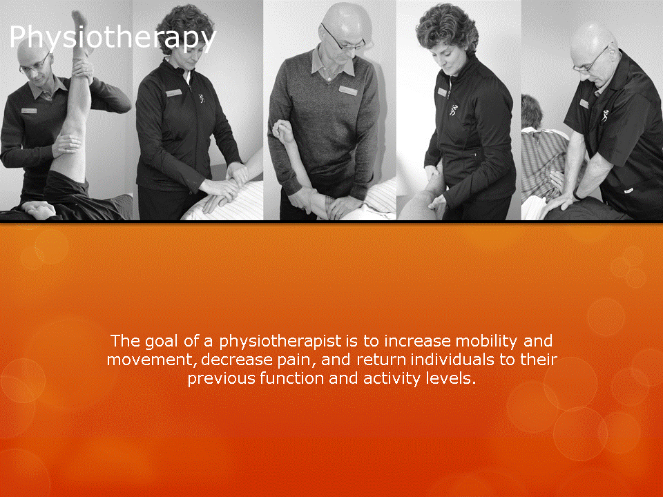 Human Performance Centre in Saint John: The goal of a physiotherapist is to increase mobility and movement, decrease pain, and return individuals to their previous function and activity levels. HPC has 4 physiotherapists: Earle Burrows, Patricia Sennett, Geoff Forgie, and Trevor Watson.