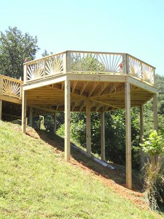 Building this octagon deck on the side of this hill was a challenge.