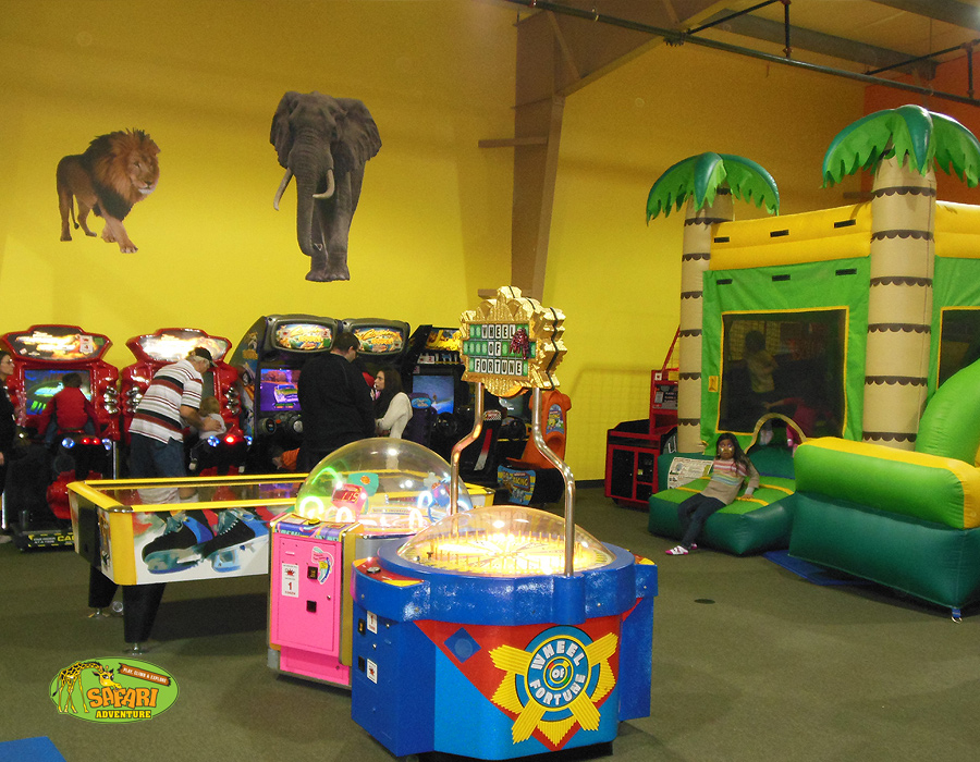 Arcade games and bounce houses