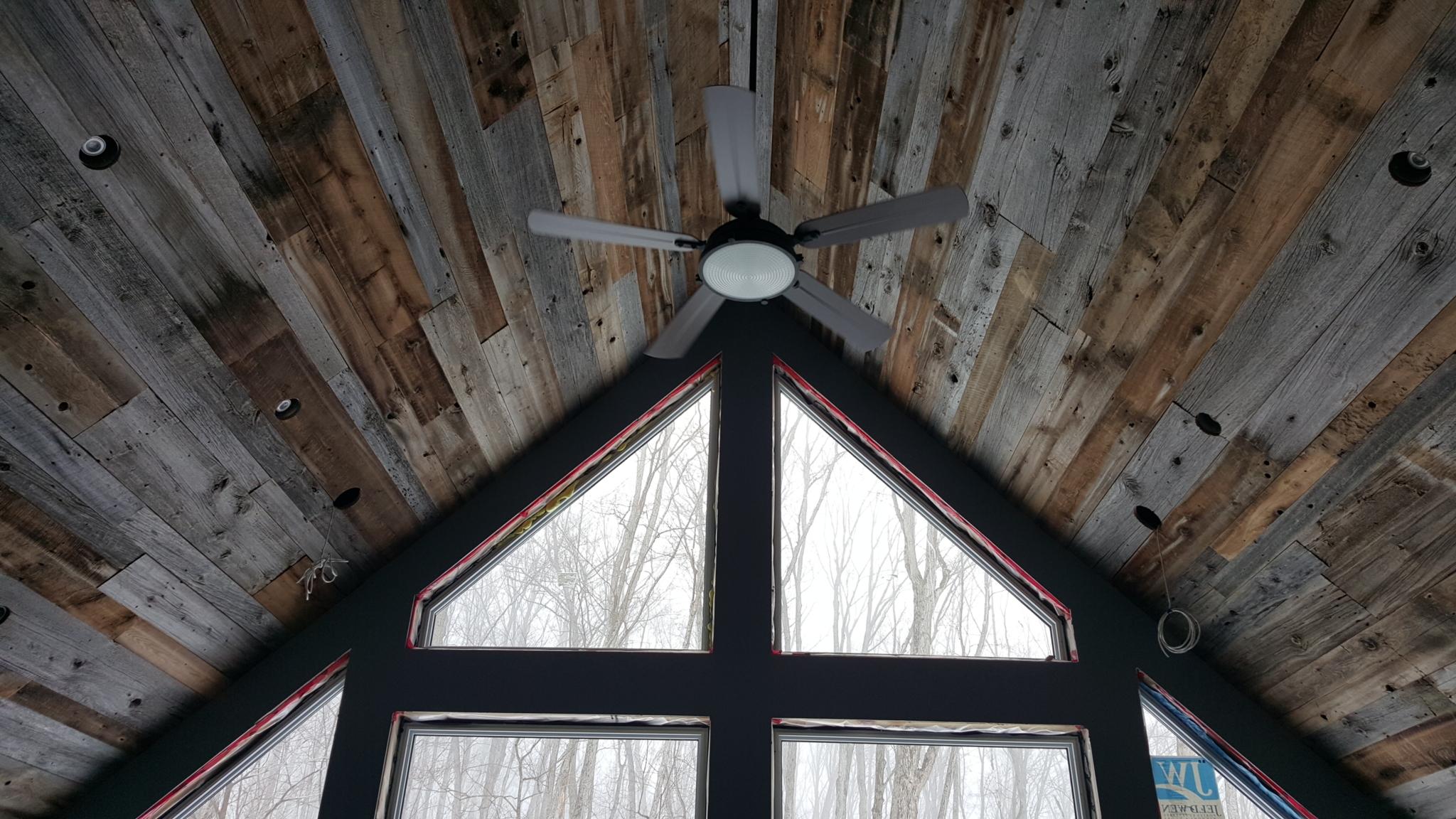 Kelsher Contracting in Huntsville: Vaulted barnboard ceiling