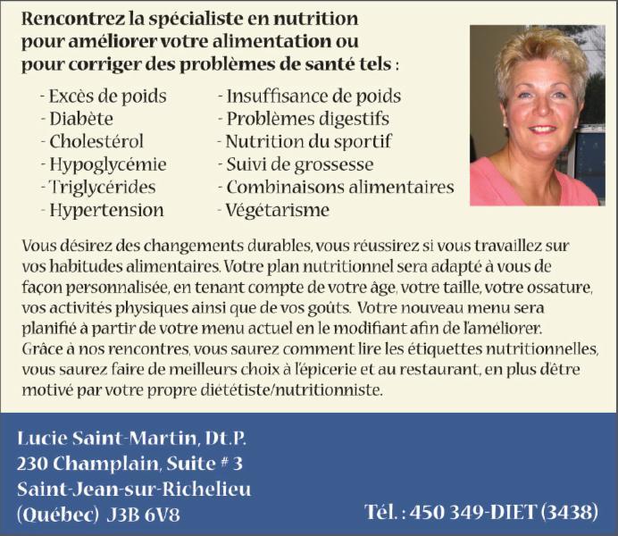Lucie Saint-Martin Nutritionniste Diététiste à Saint-Jean-Sur-Richelieu
