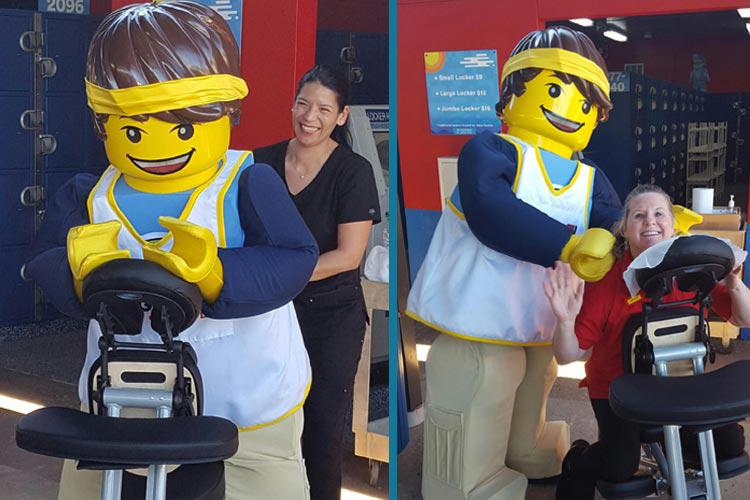 Advanced Spinal Care Chiropractic Medspa supports local businesses through corporate wellness programs. In this image our amazing Massage Therapists at Lego Land offering chair massages to the Lego La