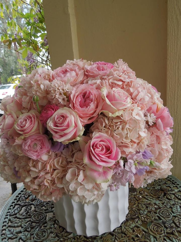 Florentyna's A Fine Flower Company -Pink Hydrangeas and Roses Arrangement