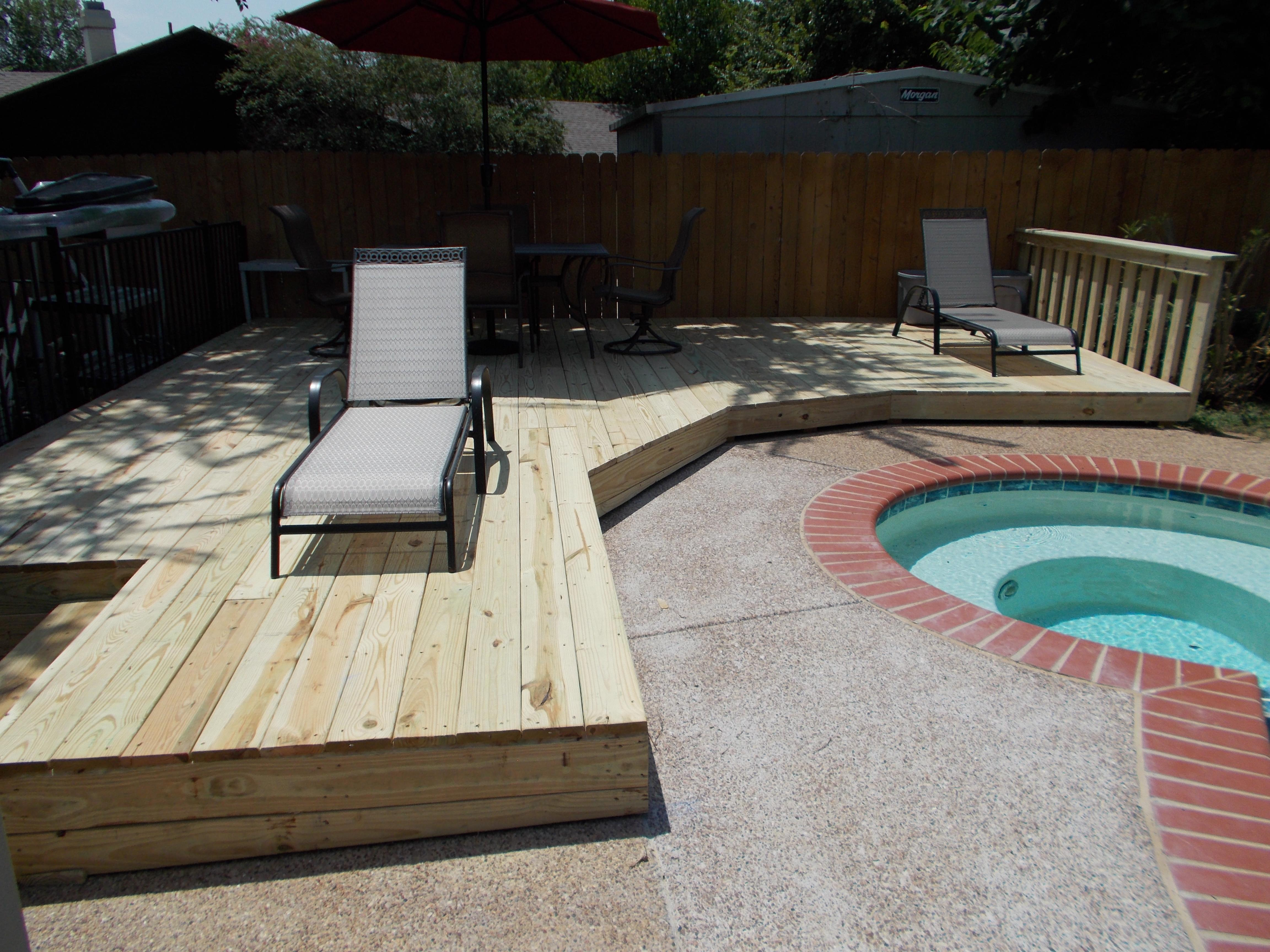 Our Customer wanted us to custom design and build a sun bathing pool for his home.  He loved it!